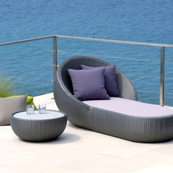 Lebello - Lebello - Modern Round Outdoor Chaise Lounge - Circle Chaise by Lebello is a modern design chaise lounge based on a sliced half round sphere design with an extended flat bed. The high curvature of the sphere provides excellent cushion support and achieves additional personal privacy.