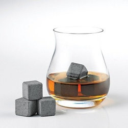 Arctic Rocks - Set of 6 - Finally Whiskey on the rocks-no melting! Watered-down whiskey is now a thing of the past. These ice cube alternatives made from hand-cut granite keep whiskey cool without ever diluting it. Effective at retaining temperature for extended periods of time. Safe natural non-porous odorless and flavorless. Includes travel pouch. Rinse before use. Store in the freezer for at least 4 hours before use. Add 3 stones to a glass. Pour until liquid has reached the height of 1 stone (about 2 fl. oz.). Let stand for 5 minutes. Enjoy. Rinse after every use and air-dry. Store in the freezer for next time. Do not chew or ingest. Intended for Whiskey and others spirits (such as Tequila Gin and Rum) only. Not intended for large volumes of liquid such as pitchers of iced tea or lemonade. Will not inadvertently scratch glass.