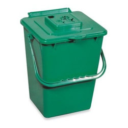 Exaco Trading - Green Kitchen Compost Pail with Filter - This attractive green kitchen pail collects organic waste so you can make your own compost. Includes one carbon filter to reduce odor and each filter lasts about 2 to 3 months.