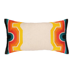 "Trina Turk - Trina Turk Arcata Blue/Orange Embroidered Pillow - Globally-inspired style meets modern design on the Trina Turk Arcata pillow. Showcasing a display of striking hues, this beige decorative accessory's borders captivate with geometric patterns. Blue, orange, red, yellow and black; 26""W x 14""H; 100% linen; Dry clean only; Down pillow insert included"