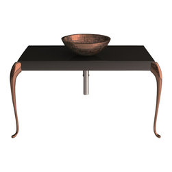 Maestrobath - MUSA Bathroom Console Black Copper Leaf - Besides very elegant and contemporary design, this luxury Italian bathroom console is made of wood and is extremely durable. The top finish is glossy black paint, and legs finish of this contemporary bath console is leaf paint. Leg colors are available in gold leaf, silver leaf, and copper leaf.  This luxury bathroom console is a gorgeous addition to a modern bathroom or even a classic one.