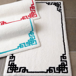"Abyss & Habidecor - Abyss & Habidecor 20"" x 31"" Zhu Bath Rug - Plush ivory bath rug with fretwork border is available in two sizes and three color options. Rug with lagoon (turquoise) border is all cotton. Rug with black or coral border is cotton/acrylic. Select color when ordering. Machine wash. Made in Port..."