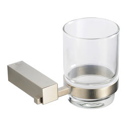 "Fresca - Fresca Ottimo Tumbler Holder - Brushed Nickel - Dimensions:  4.25""W x 3.5""D x 3.75""H. Heavy Duty Brass with Triple Brushed Nickel Finish.   All of our Fresca bathroom accessories are made with brass with a triple brushed nickel finish and have been chosen to compliment our other line of products including our vanities, faucets, shower panels and toilets.  They are imported and selected for their modern, cutting edge designs."