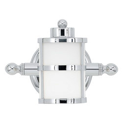 Quoizel - Quoizel TB8601C Tranquil Bay 1 Light Bathroom Vanity Lights in Polished Chrome - Long Description: This gleaming bath light has a classic nautical design style. The banded circular lanterns, round knob accents and polished chrome finish combine with the opal etched glass to provide ample light and plenty of charm for your bathroom.