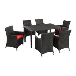 """LexMod - Deco 7 Piece Outdoor Patio Dining Set in Espresso Red - Deco 7 Piece Outdoor Patio Dining Set in Espresso Red - Highly eclectic and visually assertive, Deco is a set built on bold lines and form. Symbolic of luxury, glamour and exuberance, the Art Deco period of the 20s and 30s embraced modern advances while crafting shapes in ornately transformative ways. True to the movement that bears its name, Deco is a set brimming with the urban, technological edginess of its predecessor. A refreshing piece for the progressive minded, Deco is comprised of UV resistant rattan, a powder-coated aluminum frame and all-weather cushions. The set is perfect for cafes, restaurants, patios, pool areas, hotels, resorts and other outdoor spaces. Set Includes: One - Deco Outdoor Wicker Rattan Patio Table and Six Chair Set Modern Outdoor Table and Chair Set, Synthetic Rattan Weave, Machine Washable Cushion Covers, Powder Coated Aluminum Frame, Water & UV Resistant, Assembly Required Overall Product Dimensions: 100""""L x 75""""W x 33.5""""H Chair Dimensions: 22.5""""L x 23""""W x 33.5""""H Table Dimensions: 59.5""""L x 35""""W x 29""""HBACKrest Height: 33.5""""H Armrest Height: 25""""H Seat Height: 15.5""""H - Mid Century Modern Furniture."""