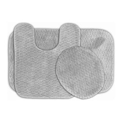 None - Enliven Platinum Grey Textured Bath Rugs 3-piece Set - Sophisticated yet durable, machine washable and soft, these Enliven textured rugs bring design and comfort to your bathroom. The bath mats are created from durable nylon with non-skid latex backing for safety.