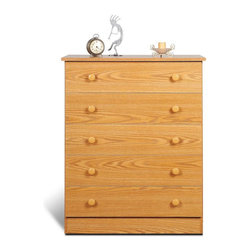 Prepac Furniture - Prepac Edenvale Oak 5 Drawer Chest - Features: