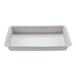 Paderno World Cuisine - 20 7/8 in. by 6 3/8 in. Porcelain Hotel Food Pan - This 20 7/8 in.  by 6 3/8 in.  porcelain hotel food pan is a standard size which fits into universal racks, heating elements and walk-in coolers. This standard was intended to rationalize the working processes in food industry operations by creating a high level of compatibility of kitchen equipment. The Palermo series is a part of a lineage of cookware more than 80 years old.