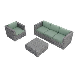 Harmonia Living - Urbana 3 Piece Modern Wicker Sofa Set, Weathered Stone Wicker, Spa - The Harmonia Living Urbana 3 Piece Modern Patio Sofa Set with Turquoise Sunbrella cushions (SKU HL-URBNWS-3SS-SP) is sure to turn your patio into the center of outdoor entertainment. Its reinforced aluminum frames and fade-resistant High-Density Polyethylene (HDPE) wicker keep this rattan outdoor sofa set looking great for years and years. Each strand of wicker has been infused with a rich Weathered Stone color and UV protection. The sofa and chair include fade- and mildew-resistant Sunbrella cushions in Canvas Spa, with ties that keep both your cushions and guests from slipping off their seat. Once the party is over, unzip and remove the covers to easily wash off any spills. Complete with brushed aluminum feet with plastic glides allow you to endlessly rearrange the patio sofa set without damaging your patio surface.