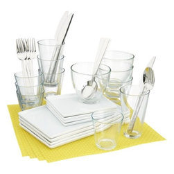 4-top cuatro yellow dinner set - less is minimal.- Medium-sized white porcelain platter is dishwasher-, microwave- and conventional oven-safe- Clear glass bowls are made in Italy; dishwasher- and microwave-safe- Made in China- See dimensions below