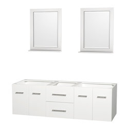 "Wyndham Collection - Centra 72"" Double Bathroom Vanity in White, No Countertop, No Sinks - Simplicity and elegance combine in the perfect lines of the Centra vanity by the Wyndham Collection. If cutting-edge contemporary design is your style then the Centra vanity is for you - modern, chic and built to last a lifetime. Available with green glass, pure white man-made stone, ivory marble or white carrera marble counters, with stunning vessel or undermount sink(s) and matching mirror(s). Featuring soft close door hinges, drawer glides, and meticulously finished with brushed chrome hardware. The attention to detail on this beautiful vanity is second to none."