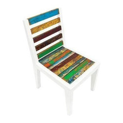 "Used Even Keel Reclaimed Wood Dining Side Chair - Cheerful color from the hulls of fishing boats combines with fresh white to make the Even Keel Dining Side Chair. A fetching addition to your high-rise balcony or graveled patio. The simple lines of solid reclaimed wood give you sturdy seating, morning, noon, and night.    Benefits:    The Even Keel Dining Side Chair is handmade from the wood of tropical fishing boats and iron from yesterday's bridges. Our pieces, large and small, are playful, due to the color and weathering inherent in each boat we buy; sophisticated by nature of our in-house design team, and made to last a lifetime: We use only the highest-quality fishing-boat teak.    Care, cleaning and technical information:  Highly durable marine grade wood is perfect for both indoor and outdoor use. We have treated this item with a water based organic semi-gloss finish therefore cleaning is very simple.  Low in harmful VOC's (volatile organic compounds) it is comparable to oil-based varnish for its high resistance to abrasion, water and solvents. This item cleans up easily with soap and water. As it cures, the molecules become cross linked in a lattice-like pattern that is much more durable than the single-strand bonds formed by conventional water-based finishes. This makes it a good choice for high-wear interior applications such as tabletops. It will have a very slight shine to it.     Number of pieces included: 1    Additional Dimensions:   Seat Height 18""       Back Rest Height 18""    Color: Wood is a natural material that varies in color, grain pattern and over-all appearance and texture. While our product images are intended to represent a wide spectrum of a materials and meant to display various characteristics, they do not show all variations. Each piece has its own individual characteristics; no item is exactly the same although we do keep the colors schemes consistent. The wood grain and coloring do vary slightly."