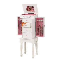 Adarn Inc - White Jewelry Armoire Chest Pink Hardware Storage Drawer Side Cabinets Organizer - For your bedroom or for your daughter or granddaughter's room, this matte white finish jewelry armoire is an ideal accessory. The pretty storage includes a pink felt lined top compartment for rings, bracelets, and more with a convenient mirror. Four drawers and two side cabinets with hooks for necklaces keep accessories organized. Turned legs and a raised scroll decorating the top compartment complete the adorable look of this jewelry armoire. Simple assembly required.