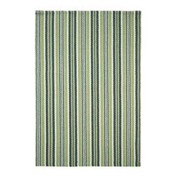 Hook & Loom Rug Company - Greenfield Stripe Eco Cotton Rug - Very eco-friendly rug, hand-woven with yarns spun from 100% recycled fiber.  Color comes from the original textiles, so no dyes are used in the making of this rug.  Made in India.