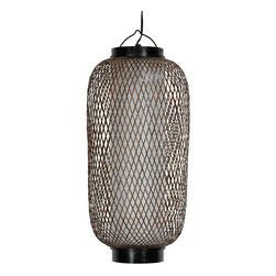 "Oriental Furniture - 19"" Kirosawa Japanese Hanging Lantern - This Kirosawa Japanese hanging lantern is designed to offer a simple solution to the problem of placing a light above a sofa, chair, table, or hallway. The cylinder shaped shade is crafted from tough, polyester reinforced pressed pulp washi paper, and surrounded by diamond cross weave, split bamboo. With American standard size, UL approved bulb socket, power cord, and wheel power switch, this lantern is designed to be hung on a ceiling hook, not wired permanently into an electrical junction box. A Japanese design hanging lantern, providing soft, warm indirect light, and a unique, Asian accent for any room in your home. An alternative to expensive, conventional electric ceiling light fixtures. Lightweight, portable, durable, and attractive, this is practical decorative lighting you can take with you when you leave, or move to another room or another part of the room if you decide to rearrange the furniture. The washi paper shades soften the light, creating a warmer atmosphere than similar glass ceiling fixtures."
