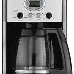 Cuisinart® 12 Cup Extreme Brew Coffee Maker - Twelve-cup programmable coffee maker with re-engineered extreme brew technology delivers fresh coffee up to 25% faster — with the added benefit of brew pause to grab a quick cup. Strength control brews regular or bold; calibrated glass carafe features a drip-free pour spout and comfortable handle. Water reservoir with water level display window lifts up for easy refilling. Sixty second reset recalls your setting in case of a power outage.