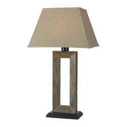 Kenroy Home - Kenroy Home 30515 1 Light Outdoor Table Lamp with On / Off Socket Switch from th - 1 Light Outdoor Table Lamp with On / Off Socket Switch from the Egress CollectionThe Natural Slate in combination with the Tan Tapered Shade creates a calm, transitional style.Kenroy lighting creations are custom designed to provide years of satisfaction. Trained designers and technicians create functional works of art that exceed appearance and performance expectations. Their craftsman match materials and finishes to each application, for showroom quality at superior values. Particular care is paid to hand applied polishing and painting, matched with the finest glass and shade treatments. Lighting collections are designed to facilitate mix and match coordination.Features: