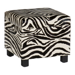 SEI - Faux Leather Storage Ottoman - Zebra - Add some flare to your home with this glamorous zebra print foot stool. Perfect everywhere from living room to kid's room, the added storage and decorative accent are sure to make an impression. Complete with an emulated fur texture, this faux leather foot stool has a lid that lifts to reveal a spacious storage compartment for throw pillows, blankets or toys. The anti-slam hinge will add peace of mind with small children around. Add some character to your home today!