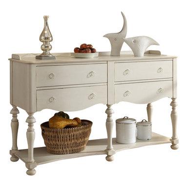 Riverside Furniture - Riverside Furniture Placid Cove Server in Honeysuckle White - Riverside Furniture - Buffet Tables and Sideboards - 16755