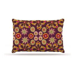 """Kess InHouse - Jane Smith """"Indian Jewelry Floral"""" Purple Gold Fleece Dog Bed (50"""" x 60"""") - Pets deserve to be as comfortable as their humans! These dog beds not only give your pet the utmost comfort with their fleece cozy top but they match your house and decor! Kess Inhouse gives your pet some style by adding vivaciously artistic work onto their favorite place to lay, their bed! What's the best part? These are totally machine washable, just unzip the cover and throw it in the washing machine!"""