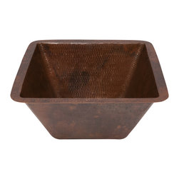 "Premier Copper Products - 15"" Square Under Counter Hammered Copper Bathroom Sink - BRAND: Premier Copper Products"