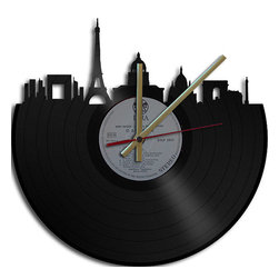 Paris Theme Vinyl Record Clock by Vinyl Clock Art - Music lovers unite with an upcycled vinyl record turned into a wonderfully unique wall clock.