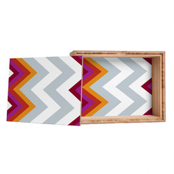 DENY Designs - Karen Harris Modernity Solstice Warm Chevron Storage Box - Love yourself a knickknack or two (or three)? Well, then this is the box for you! The Amber Bamboo wooden Storage Box is available in two sizes with a printed exterior lid and interior bottom. So, you can still be a collector of sorts, but now you've got an organized home for it all. 100% sustainable, eco-friendly flat grain amber bamboo wood box with printed glossy exterior lid and interior bottom. Custom made in the USA for every order.