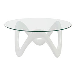 Eurostyle - Eurostyle Chelsea Round 35x35 Glass Top Coffee Table in High Gloss White & Clear - It's hard to imagine anything but fun happening around this table. Cocktails. Conversation. Familiarity and fun. The tempered glass top rests on a lively, organic shape that feels like a smile no matter how you look at it. What's included: Table Base (1), Table Top (1).