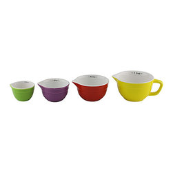 Fine Life Products - Colorful Measuring Cup Set - Dole out the perfect portions for your recipe with this sturdy ceramic measuring cup set. They are an essential addition to any carefully cultivated kitchen.   Includes 1-cup, 1/2-cup, 1/3-cup and 1/4-cup measuring cups Ceramic Dishwasher-safe Imported