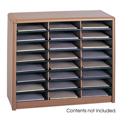 """Safco - Value Sorter Literature Organizer, 24 Compartment - Oak - There's always value in organizing! To organize effectively you need the right tools for the right space. The Value Sorter will improve neatness and is a great addition to any mail room, office, school or store. Use compartments as a mailbox, material holder or stationary sorter. The steel shell comes complete with support shelves and a solid fiberboard back to ensure stability and durability. Compartments are formed with heavy-duty corrugated fiberboard. Unit has over-sized compartments that comfortably hold up to 550 sheets of letter-size paper. Compartments are wide enough to easily accommodate letter-size file folders. Wide shelf fronts have built-in label holders (labels included).; Features: Material: Steel (shell, support shelves), Corrugated Fiberboard (shelves); Color: Oak; Finished Product Weight: 25 lbs.; Assembly Required: Yes; Tools Required: No; Limited Lifetime Warranty; Dimensions: 32 1/4""""W x 13 1/2""""D x 25 3/4""""H"""