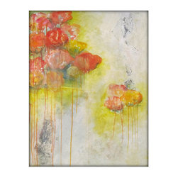 Abstract Flower Painting, Peonies, Floral, Modern Acrylic Original Painting - Flower original abstract acrylic painting on canvas - modern art by Gina Perillo