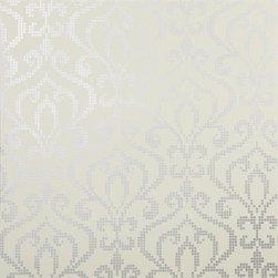 Brewster Wallcovering - Venus Pewter Metallic Mini Damask Wallpaper - Venus Pewter Metallic Mini DamaskWallpaper Pattern # 2542-20755