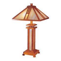 Dale Tiffany - Dale Tiffany 2401 Wood Mission Table Lamp - Shade: Hand Rolled Art Glass
