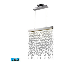 Elk Lighting - Chalfont 2 -Light Crystal Pendant Lamp in Clear and Chrome - This Chalfont 2 light crystal pendant lamp has clear crystal spears are intricately intertwined with cable wires in a random pattern that produces a textured effect. This fixture, fitted with two high-powered LEDs. This fixture can be used as a stand alone work of art or as a partition to separate two spaces. Comes with polished chrome finish. Measures 2-inch extended length by 21-inch width by 22-inch height.