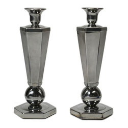 Lavish Shoestring - Consigned 2 Hexagonal Silver Plated Candlesticks, Vintage English Art Deco - This is a vintage one-of-a-kind item.