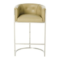 Calvin Bar Stool in Taupe Leather by Arteriors Home - This transitional, box style bar stool, with low curved back, is supported by a stainless steel frame with polished nickel finish and tufted leather seat.