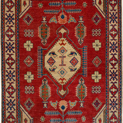 """ALRUG - Handmade Red/Rust Oriental Kazak Rug 3' 9"""" x 5' 4"""" (ft) - This Afghan Kazak design rug is hand-knotted with Wool on Cotton."""