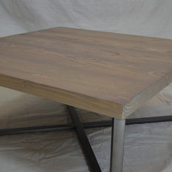 """Metal Tree Furniture - Reclaimed Square Coffee Table - This handmade coffee table is constructed of reclaimed fir. The wood and metal has been finished in lacquer for a long lasting finish. The is table is very sturdy, and is great for high use areas. We also have some furniture wax available for future """"touch-up"""" if needed."""