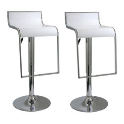 Buffalo Tools - AmeriHome 2 Piece Bar Stool Set- White - 2 Piece Bar Stool Set- White by AmeriHome Add a bit of sophistication to your kitchen, bar, game room, basement, or shop with the AmeriHome 2 Piece Bar Stool Set in glossy white. Sleek silhouettes with polished mirror-like chrome bases and shiny white molded seats give this set a clean, modern, loft-like style.  These bar stools are designed with comfort in mind. With large 14.75 inch wide molded ABS plastic 360 degree seats, built in footrests and an adjustable height of 22.5 to 31 inches. Great features that make these bar stools comfortable for everyone.  Set includes 2 modern loft-like style bar stools Adjustable height from 22.5 to 31 in. Maximum seat back height 36 in. 14.75 in. ABS plastic 360-degree swivel seat 330 lbs. weight capacity each
