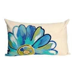"""Trans-Ocean - 12""""x20"""" Visions III Daisy Aqua Pillow - The highly detailed painterly effect is achieved by Liora Mannes patented Lamontage process which combines hand crafted art with cutting edge technology.These pillows are made with 100% polyester microfiber for an extra soft hand, and a 100% Polyester Insert.Liora Manne's pillows are suitable for Indoors or Outdoors, are antimicrobial, have a removable cover with a zipper closure for easy-care, and are handwashable. Made in USA."""