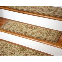 """Dean Flooring Company - Dean Premium Carpet Stair Tread Rugs - Bergama Ivory 31"""" W - Dean Premium Carpet Stair Tread Rugs - Bergama Ivory 31"""" W : Premium Carpet Stair Tread Rugs by Dean Flooring Company. Color: Bergama Ivory. Face: 100% Heat-Set Polypropylene (1 million points per square meter). Backing: Woven. Edges: Finished (Serged) with Color Matching Yarn. Set includes 13 pieces.. Each tread measures approximately 31"""" x 9"""". Easy to spot clean and vacuum. Helps prevent slips on your hardwood stairs. Great for helping your dog easily navigate your slippery staircase. Reduces noise. Reduces wear and tear on your hardwood stairs. Attractive: adds a fresh new look to your staircase. Easy DIY installation with double sided carpet tape (not included). Add a touch of warmth and style to your home today with stair treads from Dean Flooring Company!"""