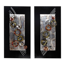 Aspire - Abstract Staff Wall Plaques - Set of 2. This abstract wall decor set is stylish and reminiscent of a musical staff with notes. Crafted entirely from metal, this accent is visually fun and artistic. Metal. Color/Finish: Black, silver, multi-colored. 32 in. H x 16 in. W x 3 in. D. Weight: 11 lbs.