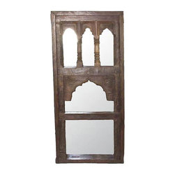 Used Antique Teak Multi-Arched Mirror - An absolutely stunning mirror, created using an antique Indian teak window frame, with multiple decorative arches.