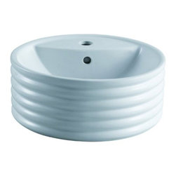 """Kingston Brass - Tower White China Vessel Bathroom Sink with Overflow Hole & Faucet Hole EV5212 - This unique white china vessel sink features a deep inner basin that descends 5-1/2"""". The outer portion is designed with an interesting circular multi-tier exterior. This bowl-like basin consists of soft curves and smooth contours and is made from the finest vitreous china material, made to prevent from scratching or chipping. Manufacturer: Kingston BrassModel: EV5212UPC: 663370097553Product Name: White China Vessel Bathroom Sink with Overflow Hole & Faucet HoleCollection / Series: TowerFinish: WhiteTheme: ClassicMaterial: CeramicType: SinkFeatures: Finest vitreous china vessel with high chemical and thermal shock resistance"""