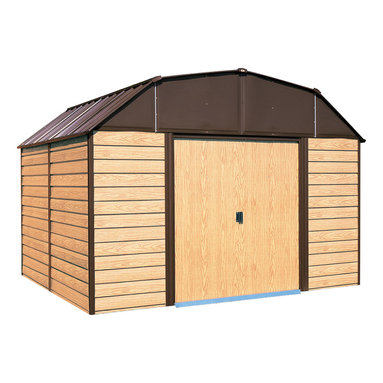 Arrow Sheds - Arrow Woodhaven 10x14-foot Storage Shed - Keep your lawn care tools,fertilizer,extra patio furniture and more safe and organized with this Arrow storage shed. Made with electro-galvanized steel for corrosion resistance,this durable wood-look shed features sliding doors for easy entry and exit.