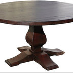 Winston Single Pedestal Dining Table - Shown as Rough Hewn, Jacobean Dark stain and water based lacquer top coat.