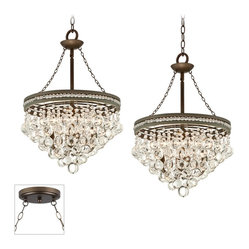 Traditional Regina Crystal Bronze Double Swag Chandelier