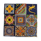 "Casa Daya Tile - Hand Painted Talavera Mexican Tile Set - Set of sixteen 4"" x 4"" tiles for your craft or construction project."