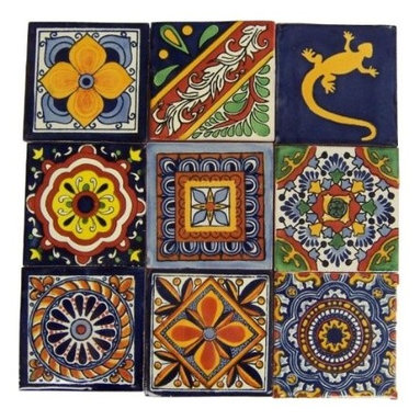 """Casa Daya Tile - Hand Painted Talavera Mexican Tile Set - Set of sixteen 4"""" x 4"""" tiles for your craft or construction project."""