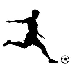 Dana Decals - Soccer Player Kicking Wall Decal - Ideal for homes, kids rooms, and schools.